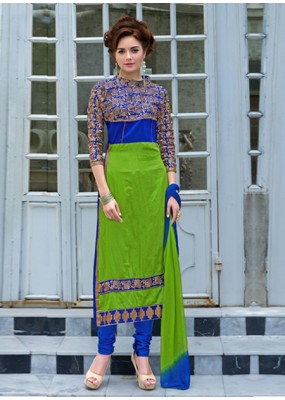 Party Wear Green & Blue Salwar Suit - FA379-1403