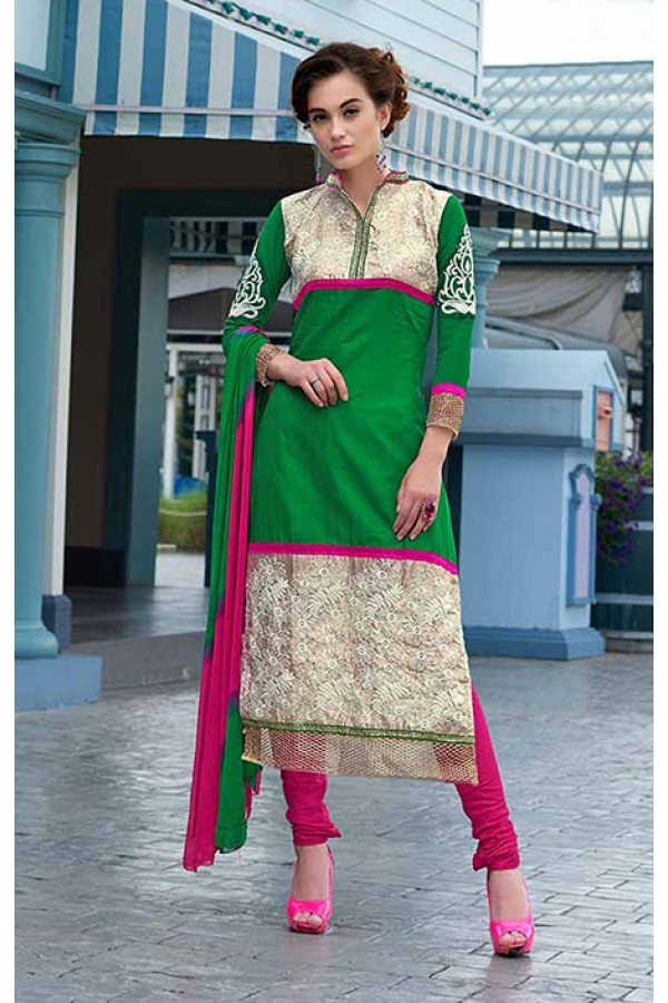 Party Wear Green & Pink Salwar Suit - FA379-1408
