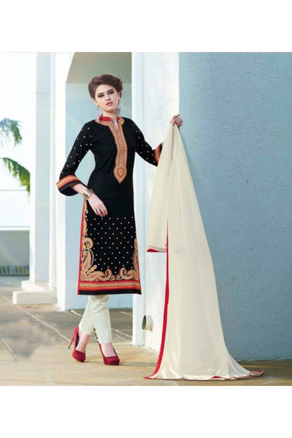Party Wear Black & Off White Salwar Suit - FA379-1411