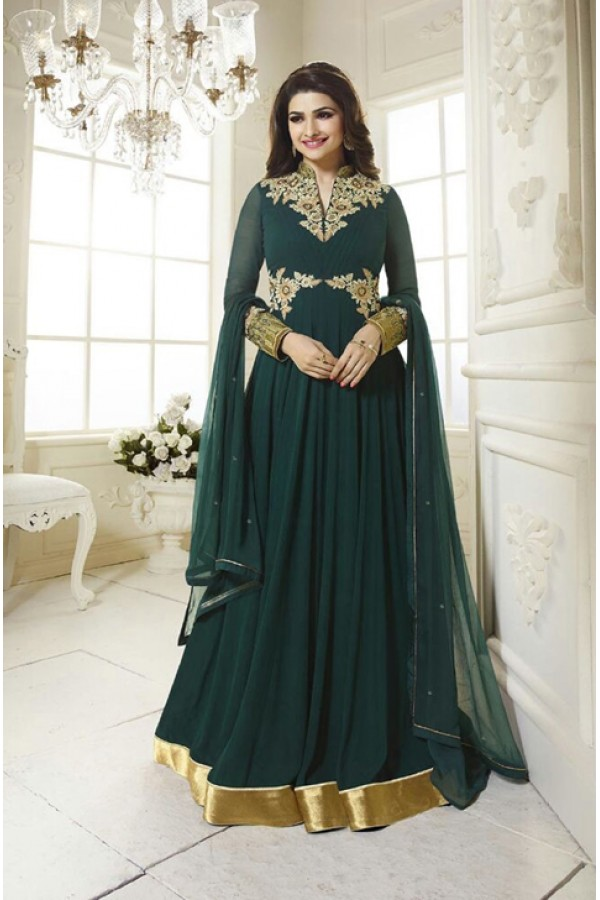 Party Wear Green Georgette Anarkali Suit - FA380-1204