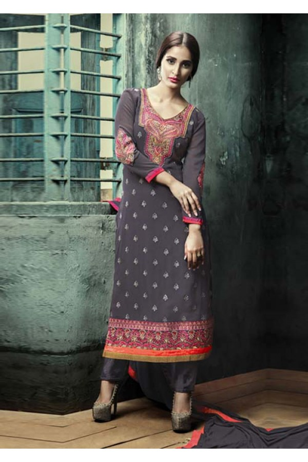 Party Wear Grey Georgette Salwar Suit - FA380-204