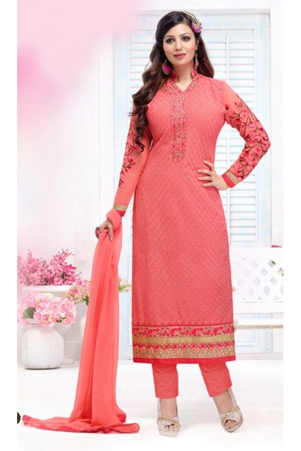 Party Wear Peach Georgette Salwar Suit - FA382-12203