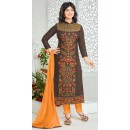Party Wear Brown & Yellow Cotton Salwar Suit - FA386-014