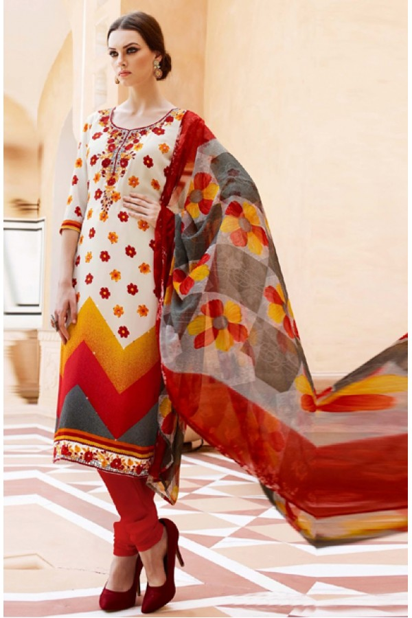 Casual Wear White & Red Crepe Salwar Suit  - FA395-7013