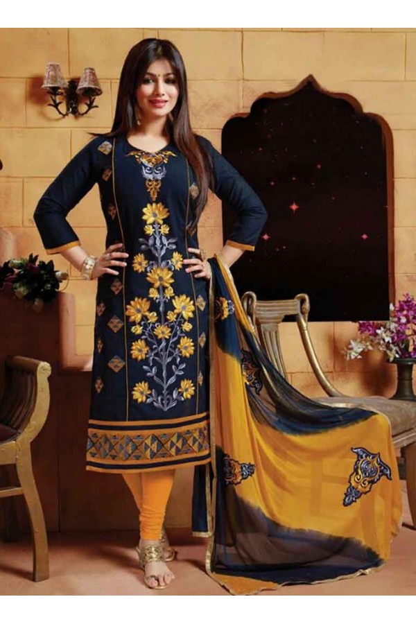 Ayesha Takia In Navy Blue & Yellow Cotton Salwar Suit  - FA396-05