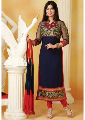 Ayesha Takia In Navy Blue & Red Cotton Salwar Suit  - FA396-11
