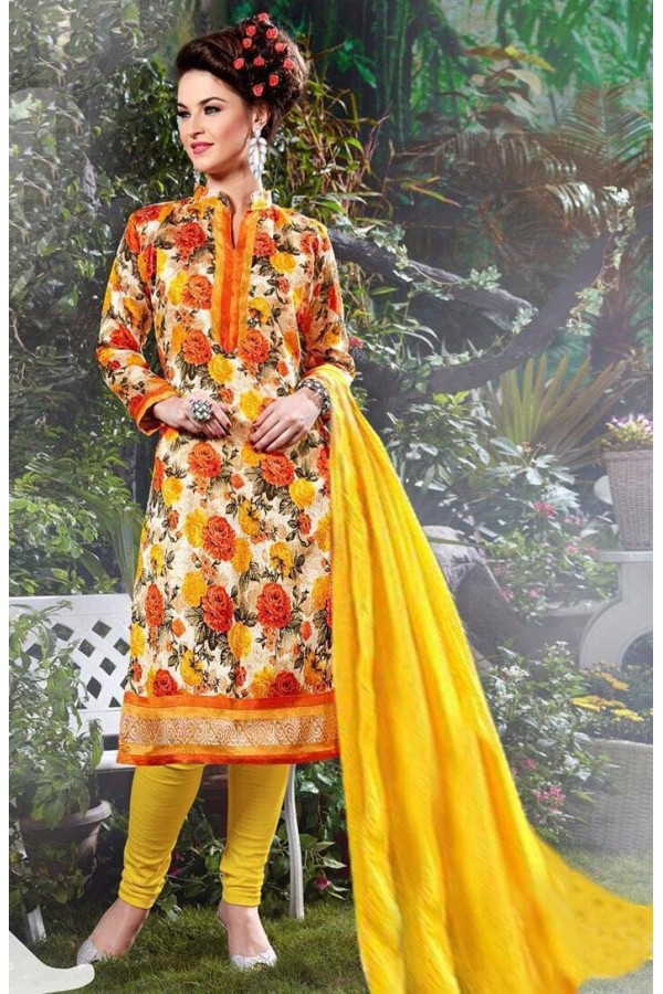 Ethnic Wear Yellow Bhagalpuri Silk Salwar Suit  - FA397-04
