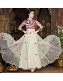 Party Wear White Net Embroidery Gown  - FA412-011