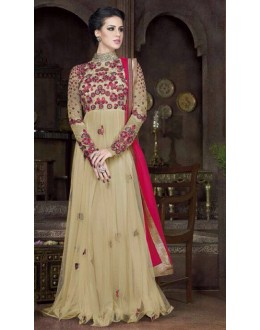 Festival Wear Cream Net Embroidery Gown  - FA412-013