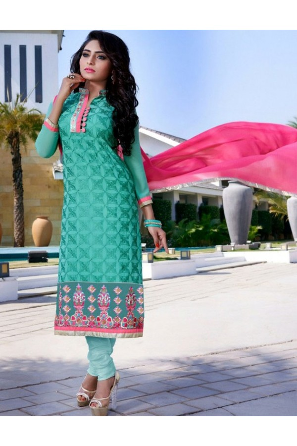 Festival Wear Turquoise & Pink Salwar Suit  - FA409-25001