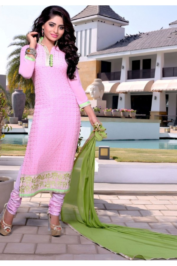 Ethnic Wear Light Pink & Green Churidar Suit  - FA409-25005