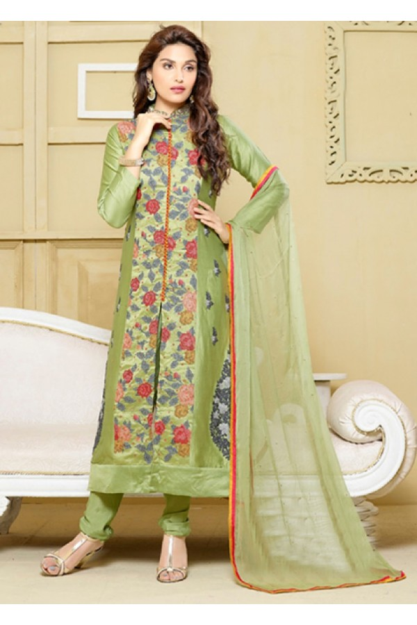 Ethnic Wear Green Embroidery Churidar Suit  - FA400-2325