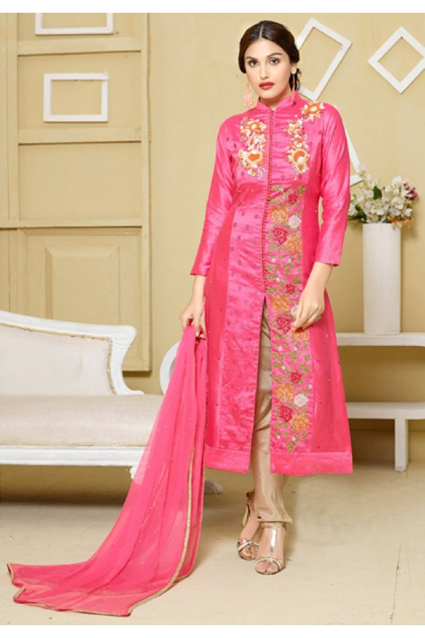 Party Wear Pink Embroidered Silt Salwar Suit  - FA400-2327