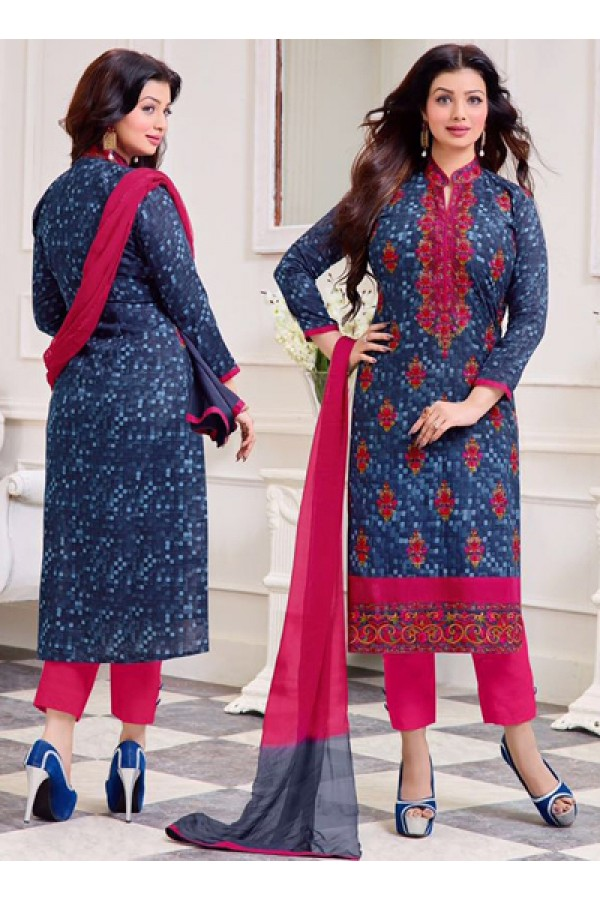 Ayesha Takiya In Blue & Pink Cotton Salwar Suit  - FA414-27