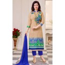 Ayesha Takiya In Beige & Blue Cotton Salwar Suit  - FA414-28