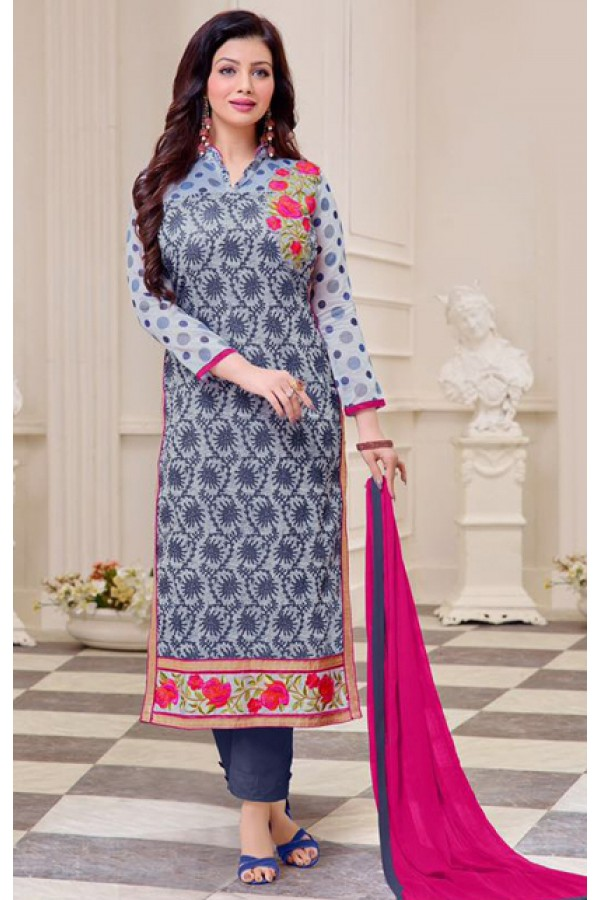 Ayesha Takiya In Blue & Pink Cotton Salwar Suit  - FA414-30