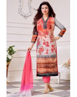 Ayesha Takiya In Orange & Grey Cotton Salwar Suit  - FA414-31