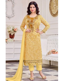 Ayesha Takiya In Yellow Cotton Salwar Suit  - FA414-32