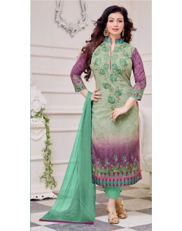 Ayesha Takiya In Purple & Green Cotton Salwar Suit  - FA414-34