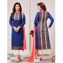 Ayesha Takiya In Blue & Peach Cotton Salwar Suit  - FA414-36