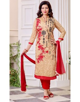 Ayesha Takiya In Beige & Red Cotton Salwar Suit  - FA414-37