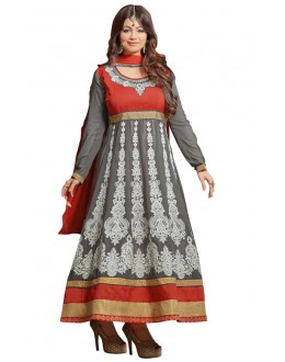 Ayesha Takiya Grey & Red Anarkali Suit  - FA420-20274