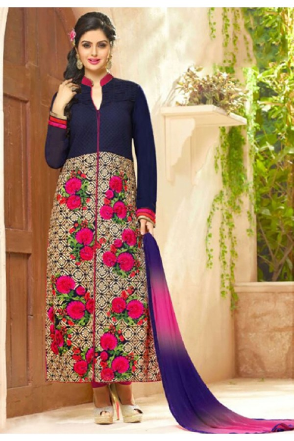 Ethnic Wear Navy Blue Cotton Salwar Suit - FA418-3