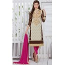Office Wear Cream & Pink Georgette Salwar Suit  - 19298