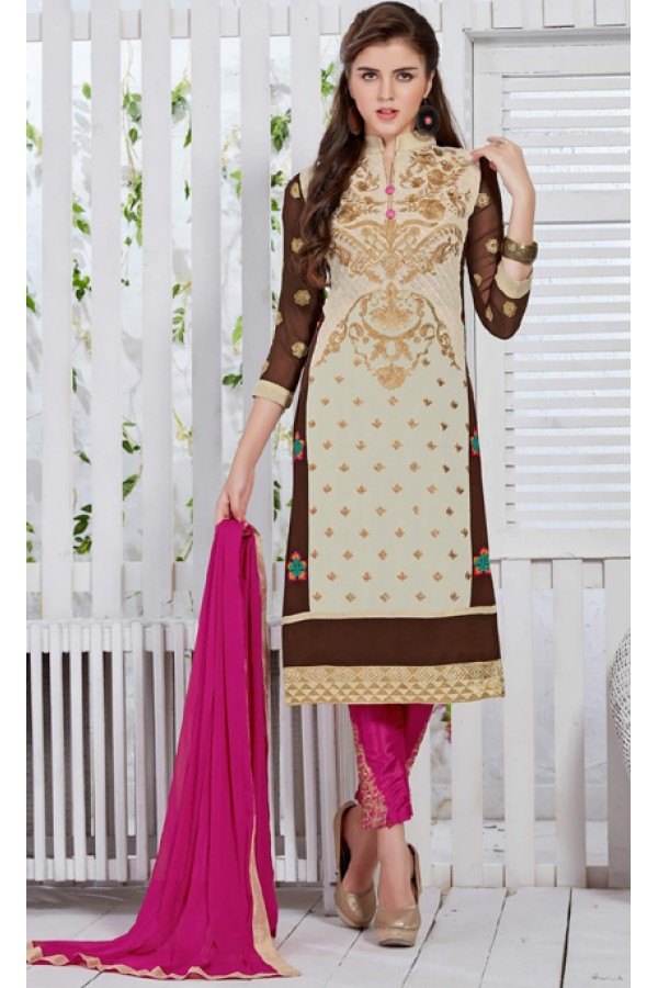 Office Wear Cream & Pink Georgette Salwar Suit  - FA421-20434
