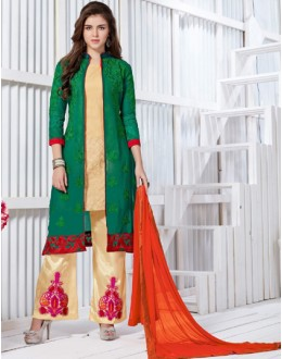 Casual Wear Green & Cream Georgette Palazzo Suit  - FA421-20435