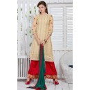 Ethnic Wear Cream & Red Georgette Palazzo Suit  - 19300