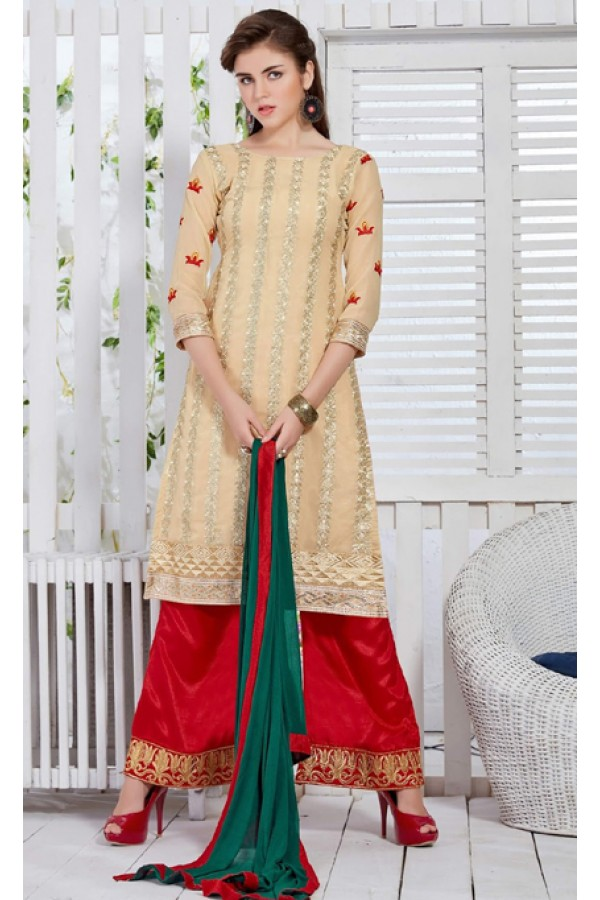 Ethnic Wear Cream & Red Georgette Palazzo Suit  - FA421-20436