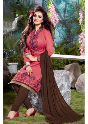 Casual Wear Peach Chanderi Salwar Suit - FD167-02