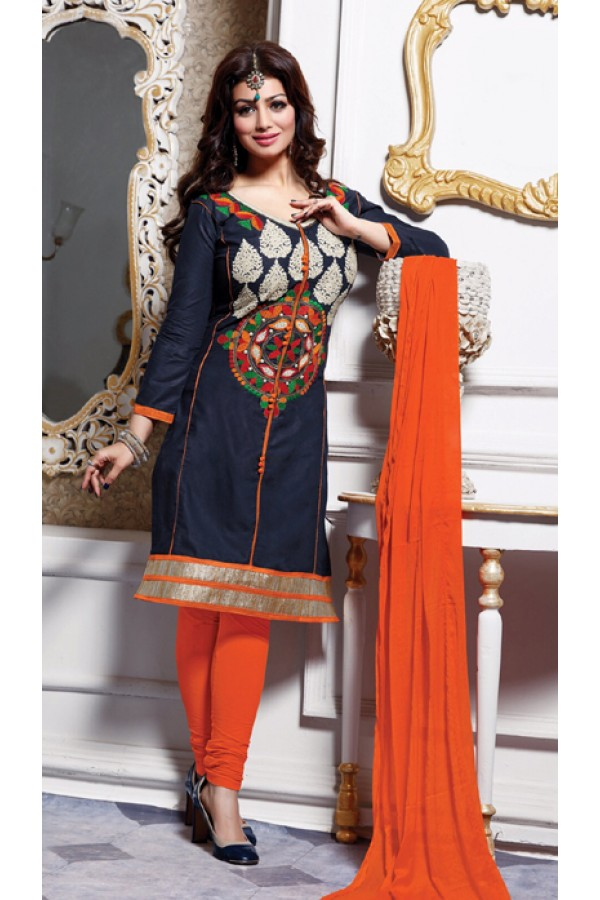 Casual Wear Blue & Orange Salwar Suit - FD167-04