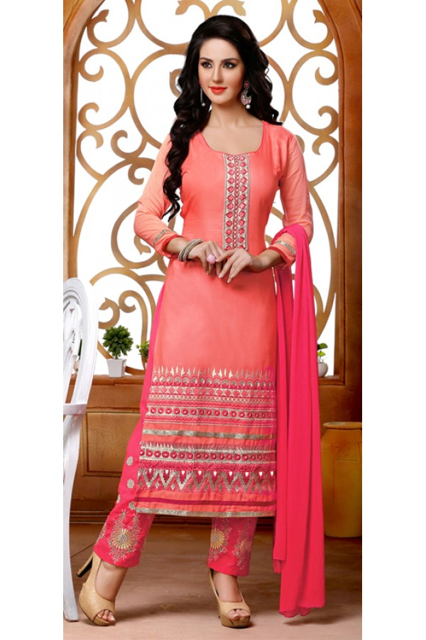 Party Wear Orange & Pink Salwar Suit - FD167-1207