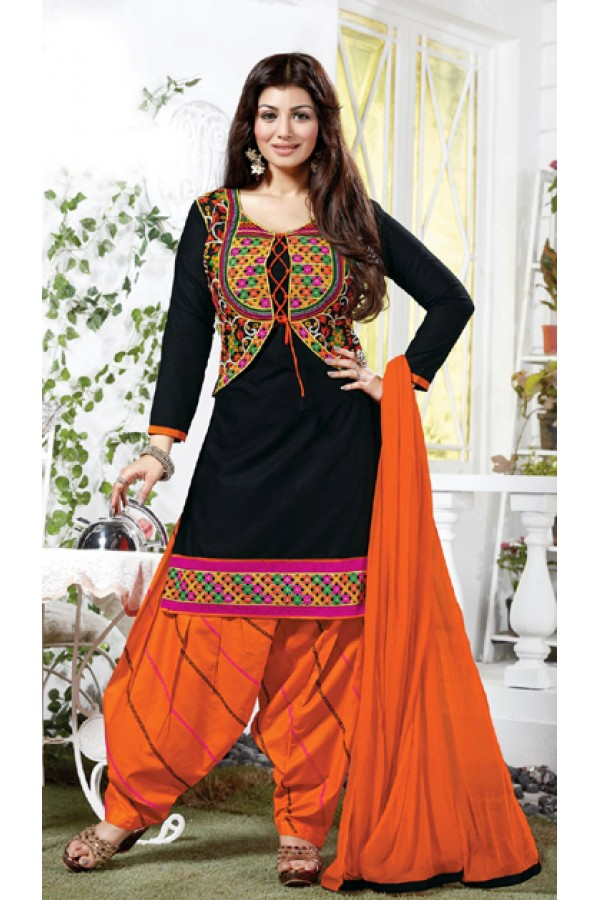 Party Wear Black & Orange Salwar Suit - FD167-14