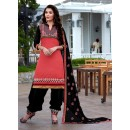 Party Wear Peach & Black Patiyala Suit - FD168-1508
