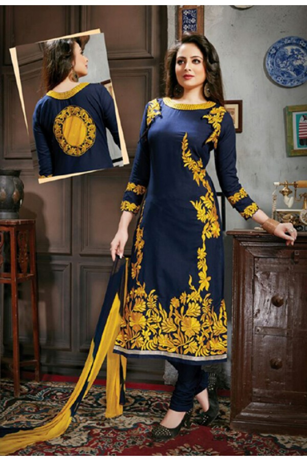Casual Wear Blue & Yellow Salwar Suit - FD169-05