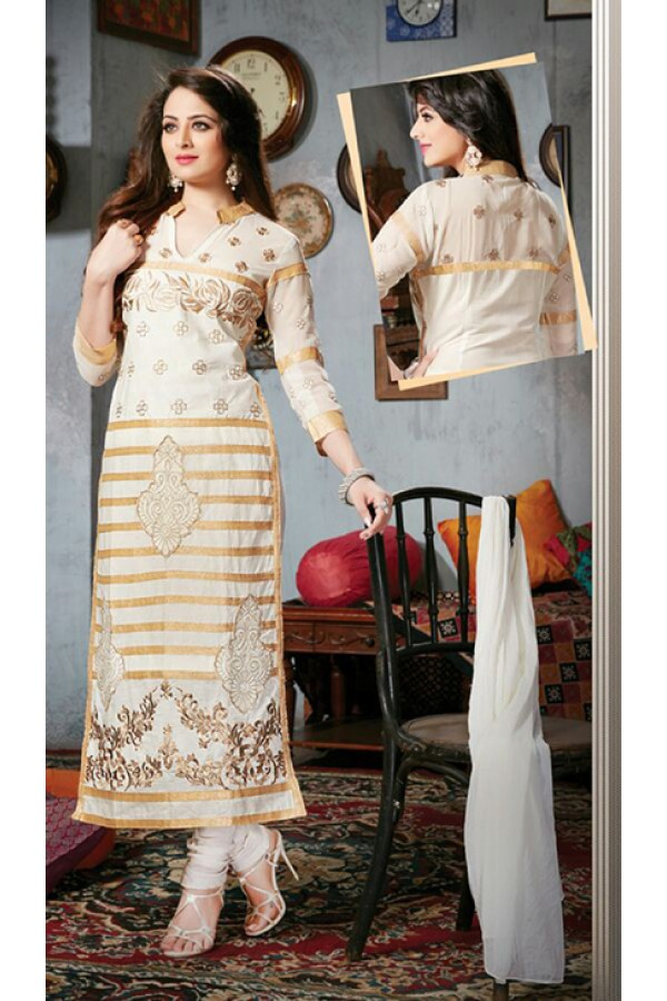 Party Wear Off White & Golden Salwar Suit - FD169-12