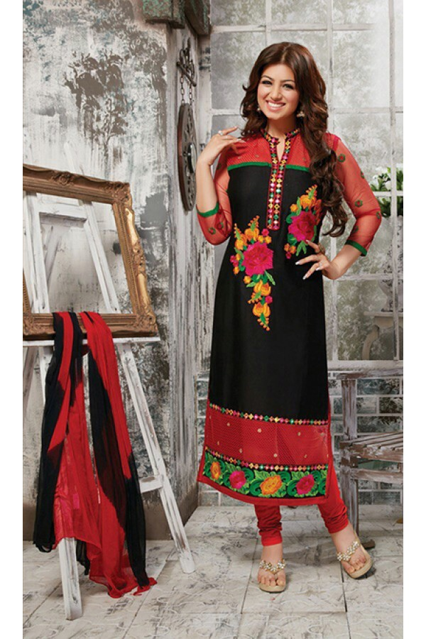 Party Wear Red & Black Salwar Suit - FD169-13