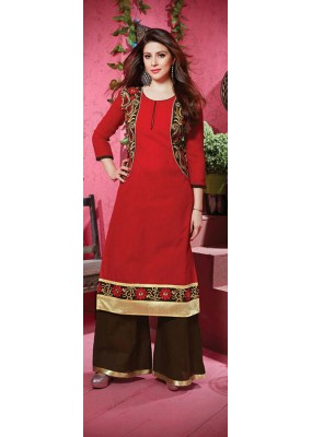 Casual Wear Red & Brown Palazzo Suit - FD169-18