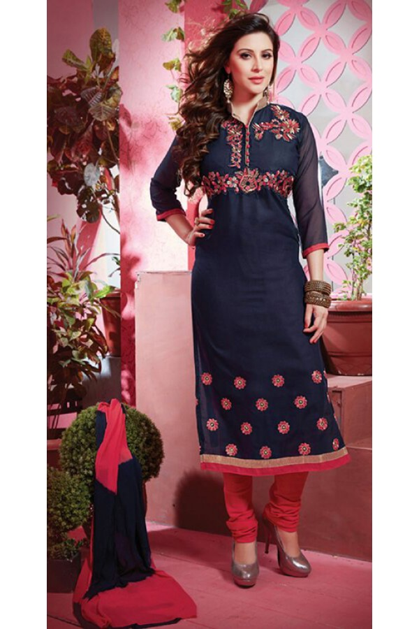 Casual Wear Blue & Red Salwar Suit - FD169-20