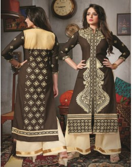 Party Wear Brown & Cream Palazzo Suit - FD169-25