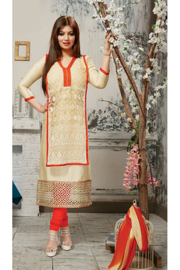 Party Wear Cream & Orange Salwar Suit - FD169-31