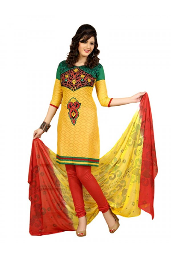 Party Wear Yellow & Red Salwar Suit - FD169-40