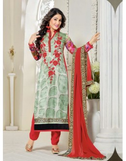 Party Wear Green Georgette Churidar Suit - FA357-81004