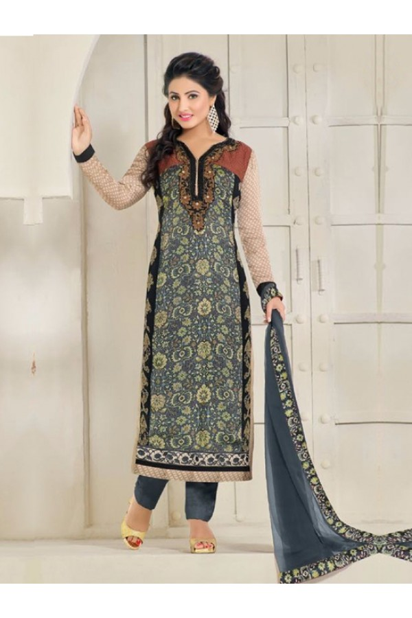 Party Wear Grey Georgette Churidar Suit - FA357-81001