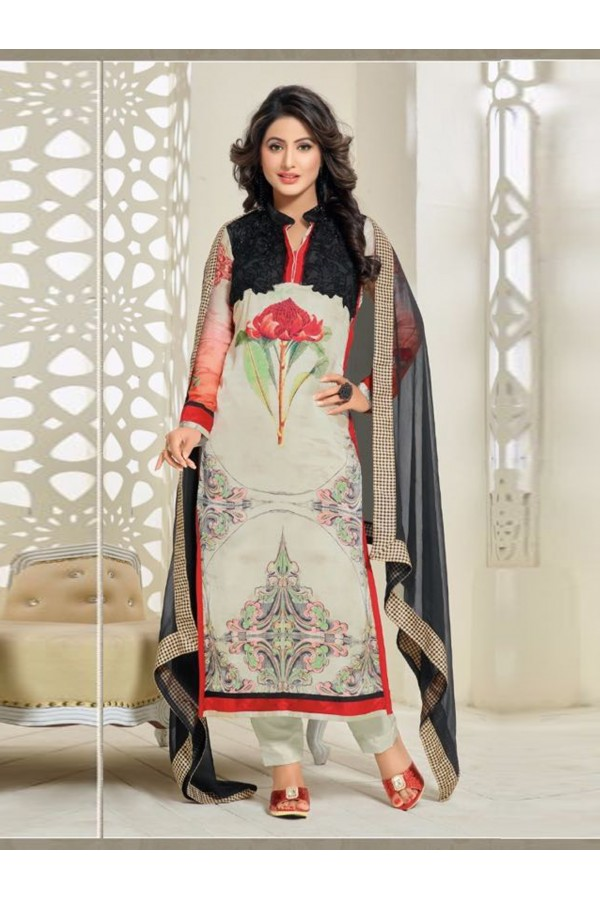 Party Wear Off White Georgette Churidar Suit - FA357-81008