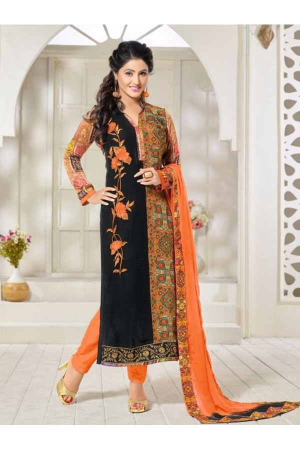 Party Wear Orange Georgette Churidar Suit - FA357-81009