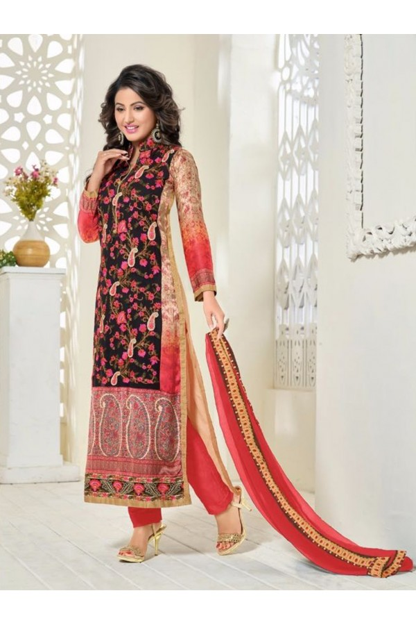 Party Wear Red Georgette Churidar Suit - FA357-81002